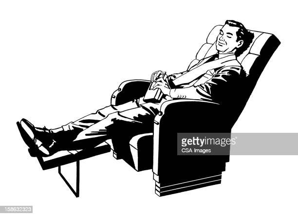 man relaxing in recliner - chaise stock illustrations, clip art, cartoons, & icons