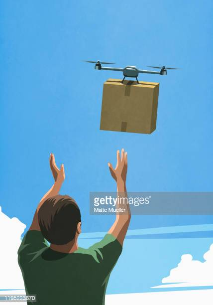 man releasing drone with cardboard box delivery - consumerism stock illustrations