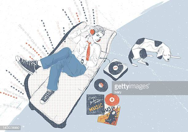 man resting in office while listening to music - lying on back stock illustrations, clip art, cartoons, & icons