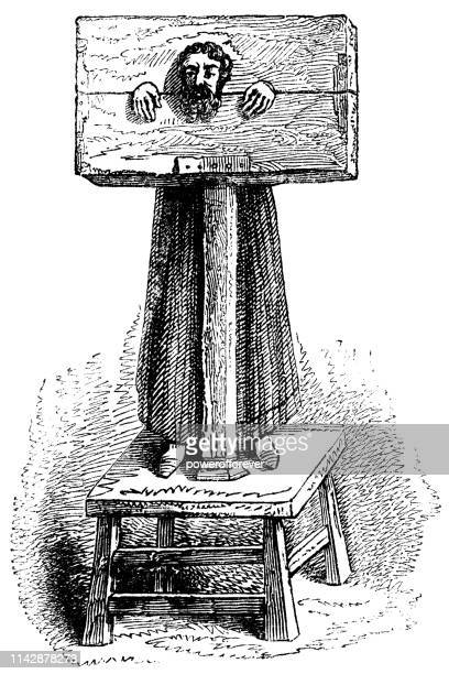 man restrained by pillory - 16th century - pillory stock illustrations
