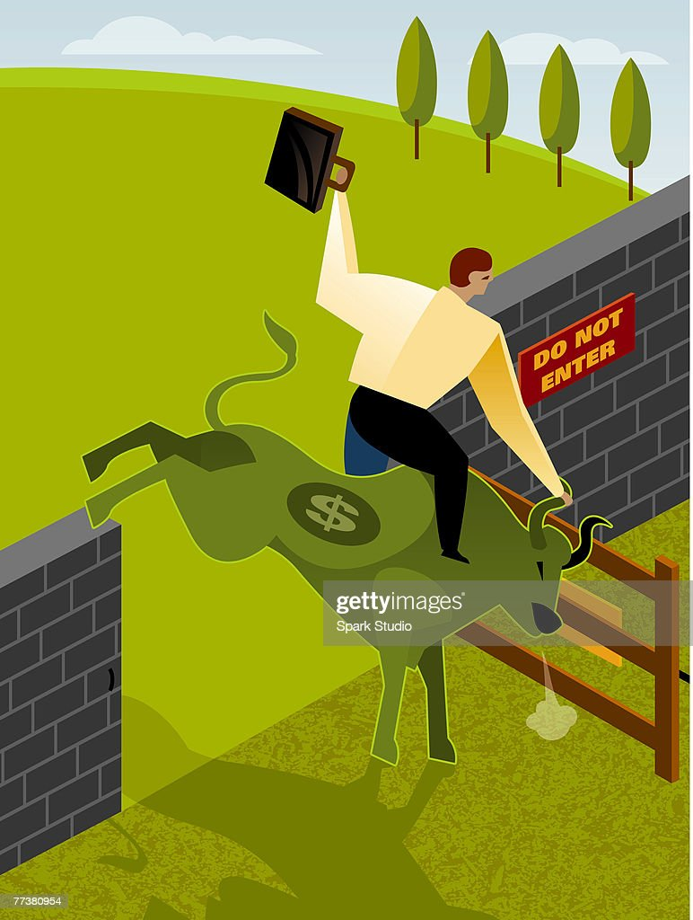 A man riding a bull with a dollar sign on it : Illustration