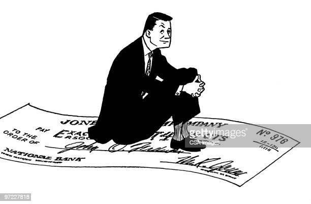 man riding a check - paycheck stock illustrations, clip art, cartoons, & icons