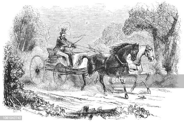Man Riding a Concord Buggy in New Hampshire, USA (19th Century)