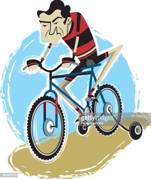 ilustrações de stock, clip art, desenhos animados e ícones de man riding a cycle with training wheels - buchinho