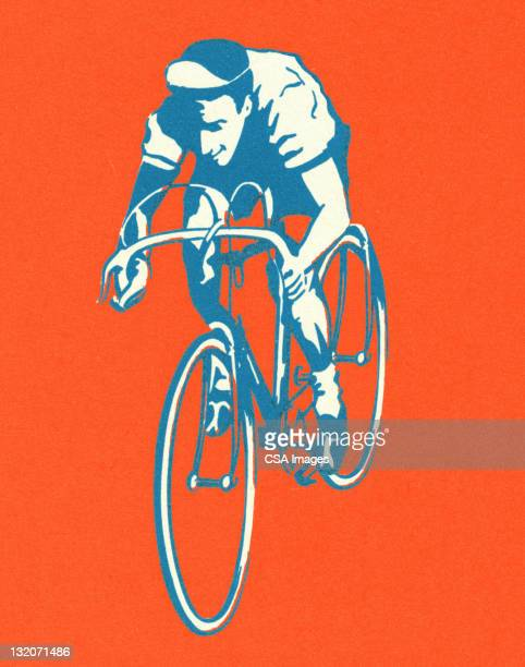 man riding bicycle - sports race stock illustrations