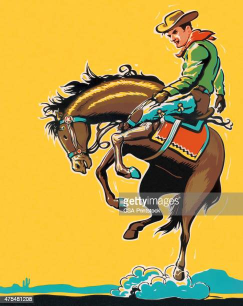 man riding bucking horse - cowboy stock illustrations, clip art, cartoons, & icons