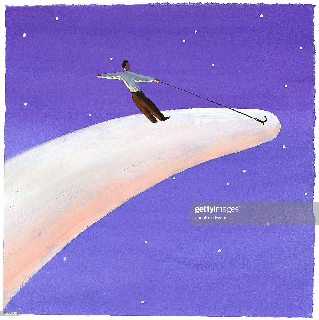 Man Riding Comet : Stock Illustration