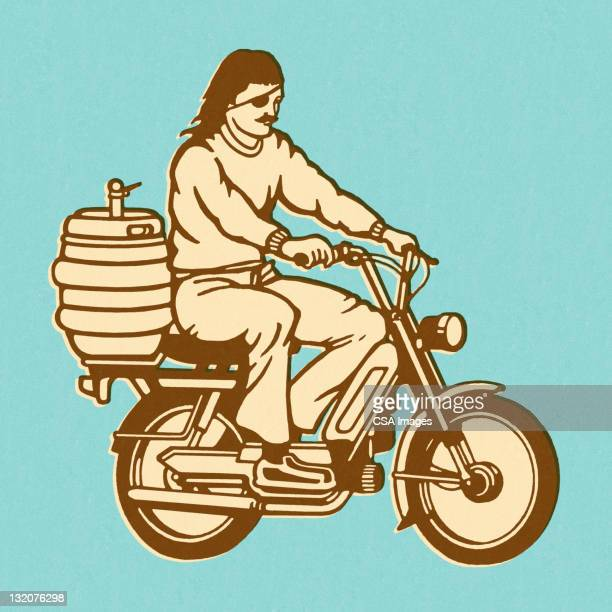 Man Riding Moped With Keg on the Back