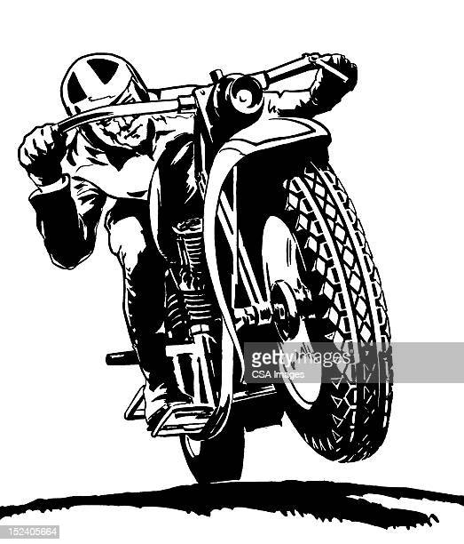 man riding motorcycle - motocross stock illustrations, clip art, cartoons, & icons