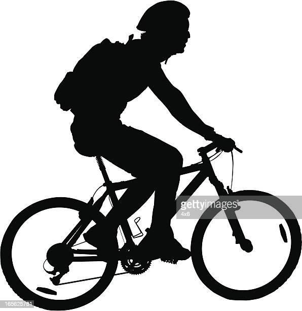 ilustrações de stock, clip art, desenhos animados e ícones de homem bicicleta de montanha de equitação - mountain bike