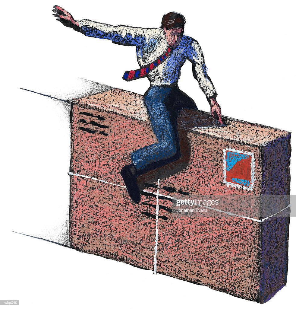 Man Riding on Package : Stock Illustration