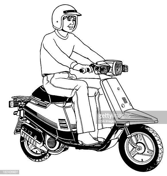 man riding scooter - motorcycle helmet stock illustrations, clip art, cartoons, & icons