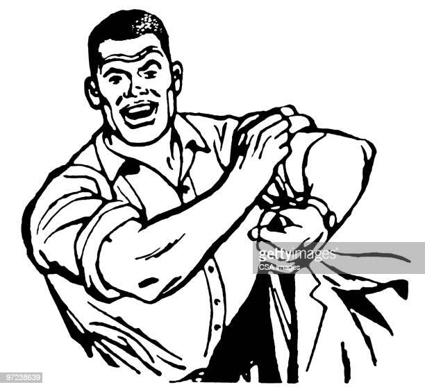 man rolling up sleeves - strength stock illustrations