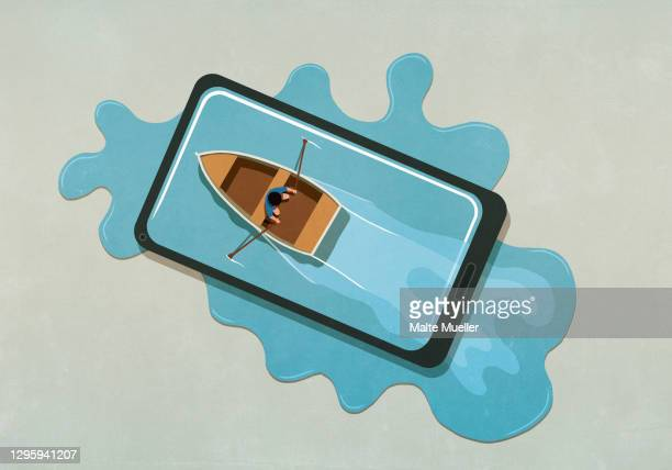 man rowing boat in water spilling from smart phone - nautical vessel stock illustrations