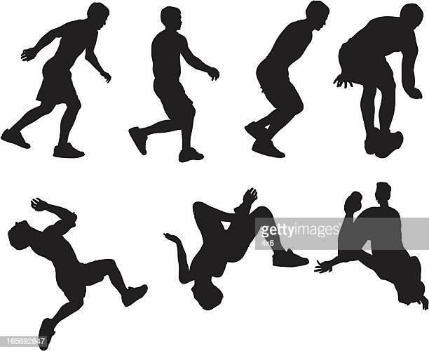 ilustraciones, imágenes clip art, dibujos animados e iconos de stock de hombre corriendo y paracaidismo - color tipo de imagen