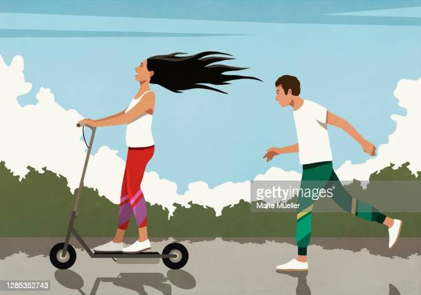 man running behind carefree girlfriend on electric scooter - leisure activity stock illustrations
