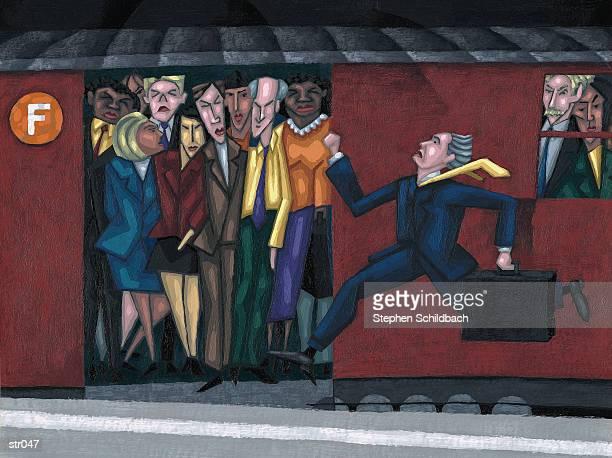 man running for subway - stehen stock illustrations