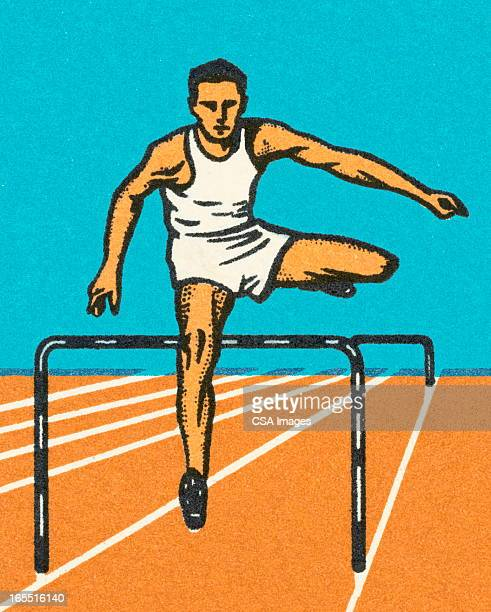 ilustraciones, imágenes clip art, dibujos animados e iconos de stock de hombre corriendo obstáculos - pista de atletismo