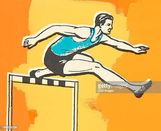 ilustrações de stock, clip art, desenhos animados e ícones de homem com barreiras - pista de atletismo