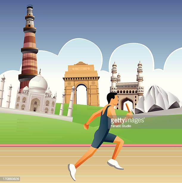 man running on a racing track with historical buildings in the background - running track stock illustrations, clip art, cartoons, & icons
