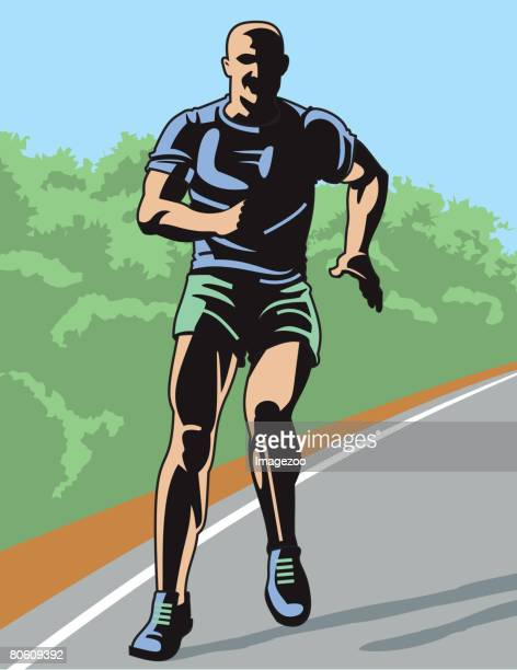 a man running on a track - number of people stock illustrations, clip art, cartoons, & icons