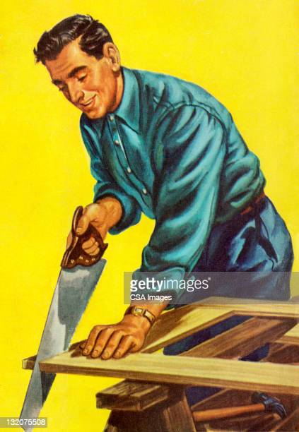 man sawing wood - only men stock illustrations