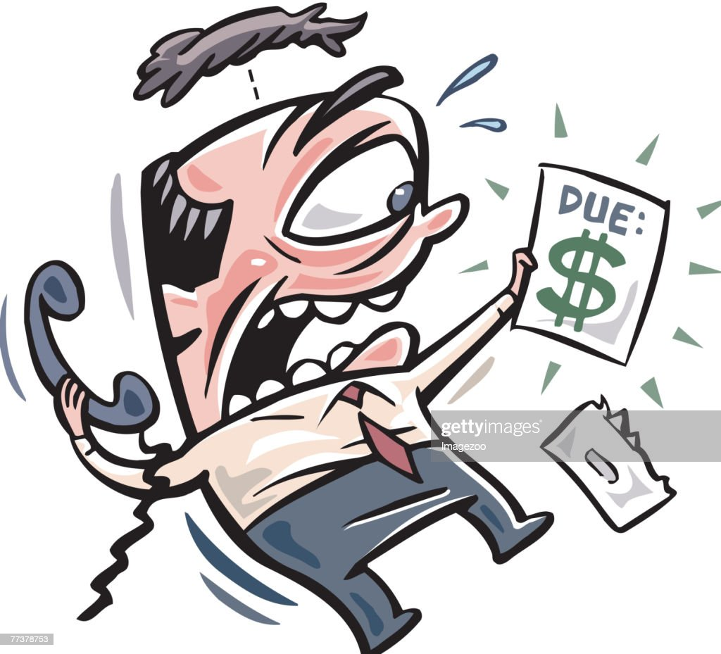 man scared of his expensive bill : Illustration