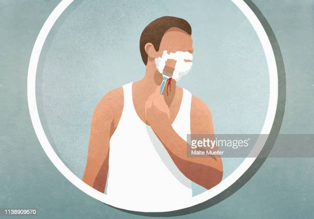 man shaving his face, bleeding in mirror - front view stock illustrations
