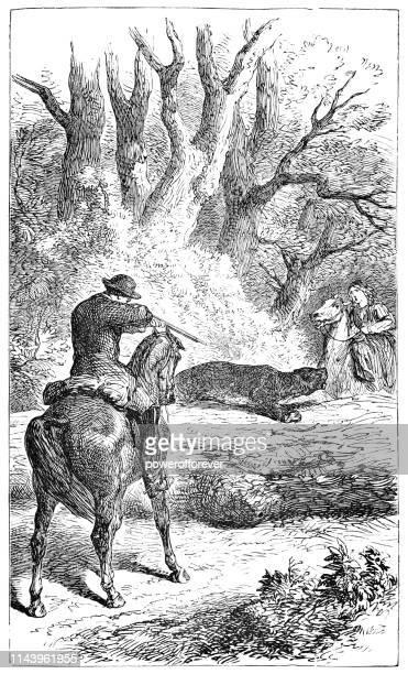 ilustraciones, imágenes clip art, dibujos animados e iconos de stock de hombre disparando a un puma atacando a una mujer en tennessee, estados unidos-19th siglo - puma