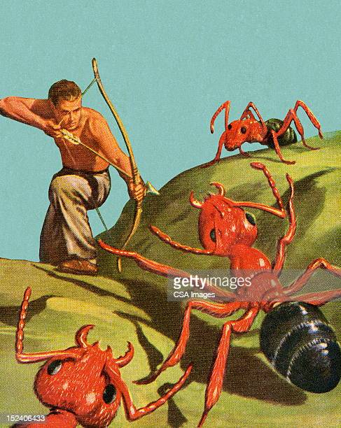 man shooting giant ants with bow and arrow - insect stock illustrations