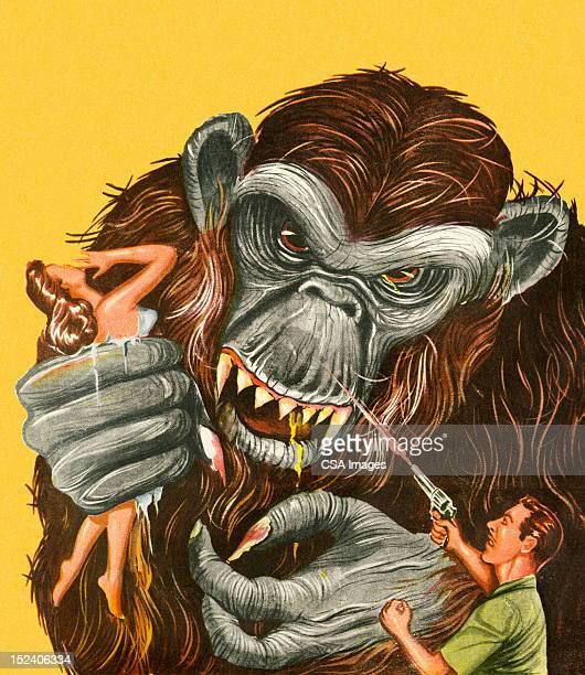 man schießen-ape - fire ape stock-grafiken, -clipart, -cartoons und -symbole