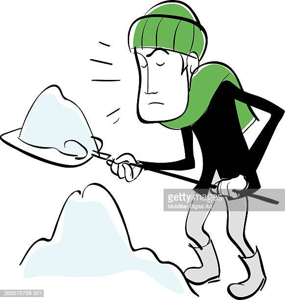 man shoveling snow - snow shovel stock illustrations