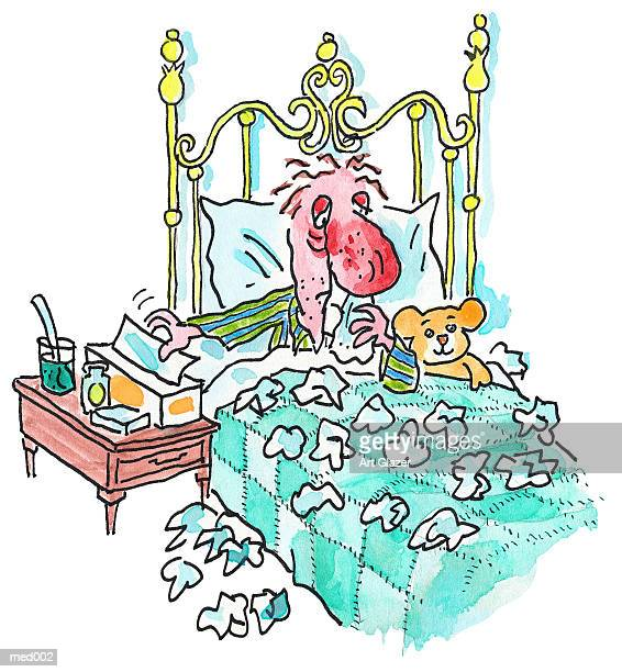 ilustraciones, imágenes clip art, dibujos animados e iconos de stock de man sick in bed - blowing nose