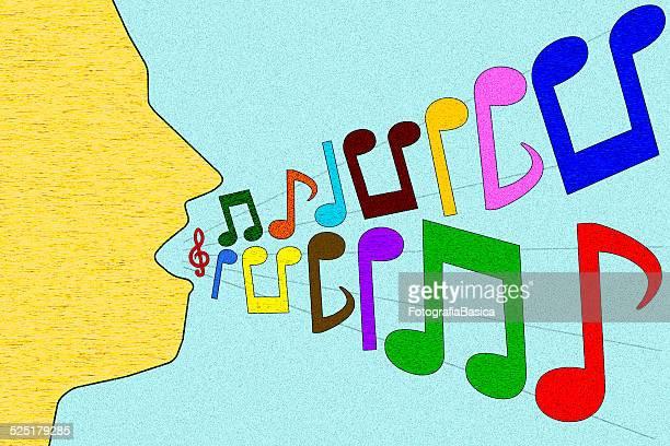 man singing - treble clef stock illustrations, clip art, cartoons, & icons