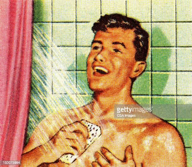 ilustraciones, imágenes clip art, dibujos animados e iconos de stock de hombre canta en la ducha - ducha