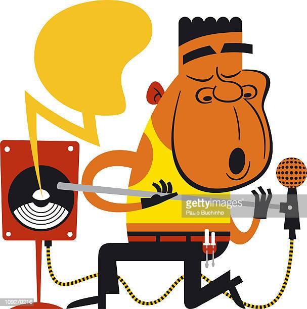 ilustrações de stock, clip art, desenhos animados e ícones de a man singing into a microphone - buchinho