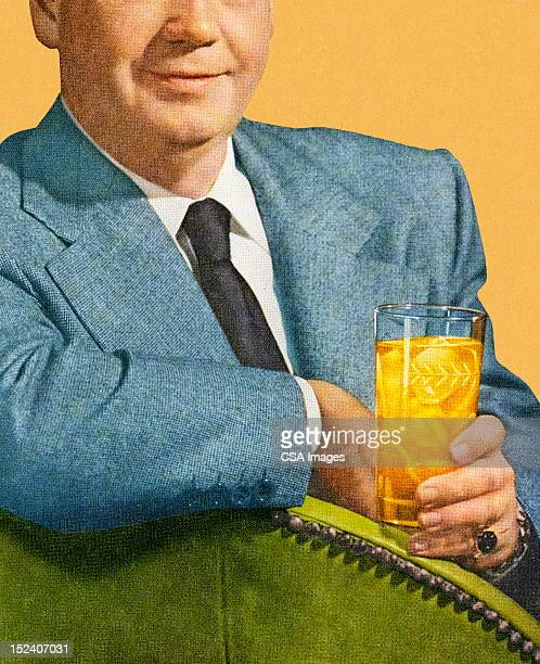 man sitting and holding drink - scotch whiskey stock illustrations, clip art, cartoons, & icons