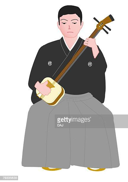 ilustrações de stock, clip art, desenhos animados e ícones de man sitting and playing the shamisen in japanese style clothing, front view, aomori prefecture, japan - vangen