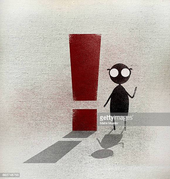 man sitting by exclamation point on footpath - exclamation mark stock illustrations