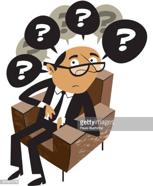 ilustrações de stock, clip art, desenhos animados e ícones de a man sitting in a chair with many questions - buchinho