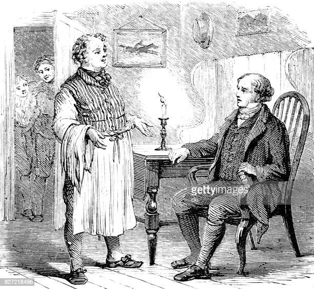 Man sitting in chair talking to a servant