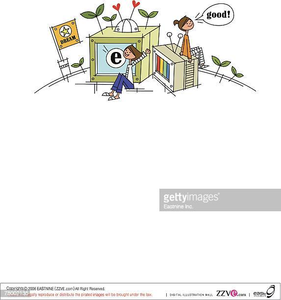 man sitting in front of a television and smiling - television aerial stock illustrations, clip art, cartoons, & icons