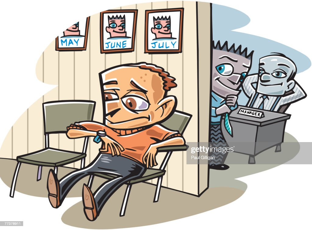 A man sitting in the waiting room while the employees look on : Illustration