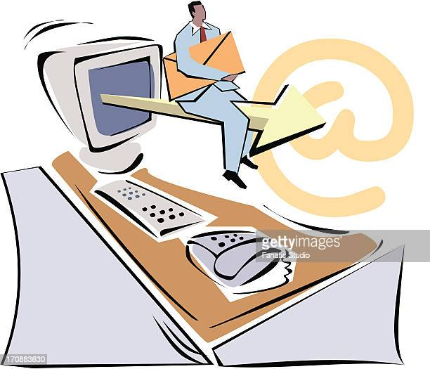 man sitting on an arrow coming from computer monitor and holding email - abc broadcasting company stock illustrations