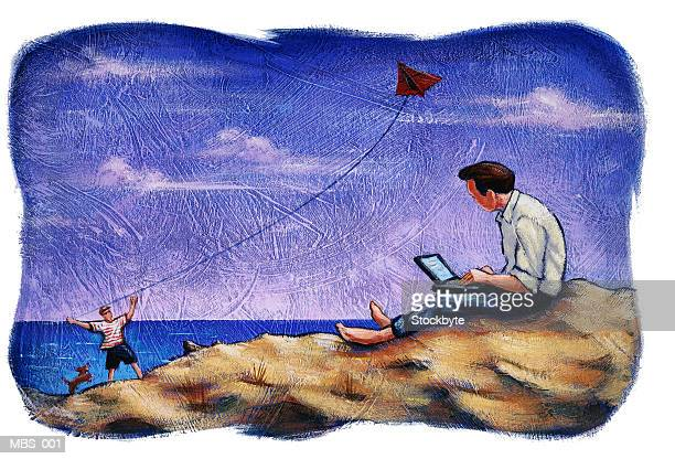 man sitting on beach and using laptop, watching boy fly kite - kite toy stock illustrations, clip art, cartoons, & icons