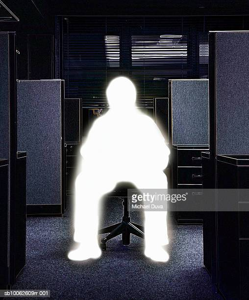 man sitting on chair in office - digital enhancement stock illustrations