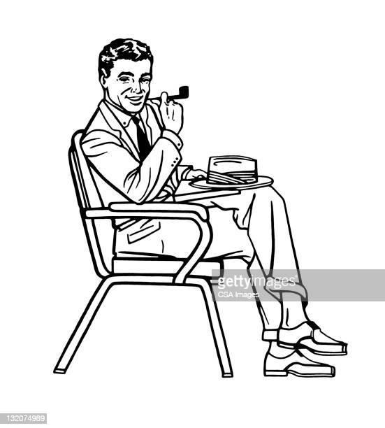 Man Sitting With Hat and Pipe