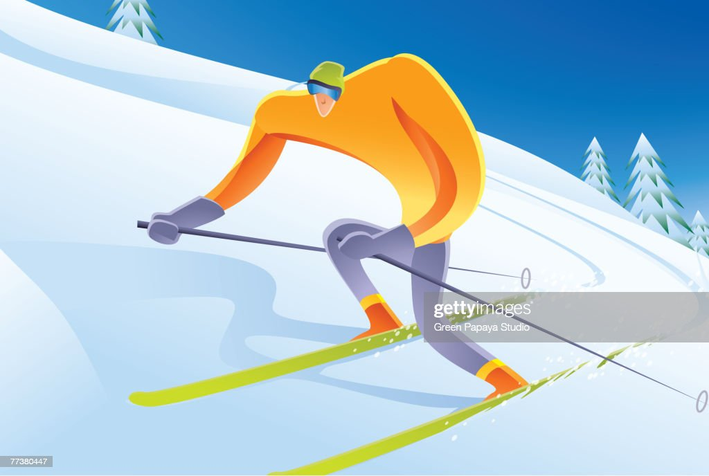 A man skiing on a snowy slope : Illustration