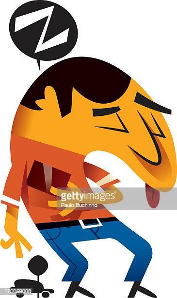 ilustrações de stock, clip art, desenhos animados e ícones de a man sleeping while standing up - buchinho