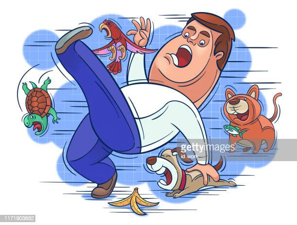 man slipping with pets - slapping stock illustrations, clip art, cartoons, & icons